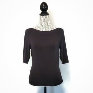 Ann Taylor boat-neck 3/4-sleeves black top